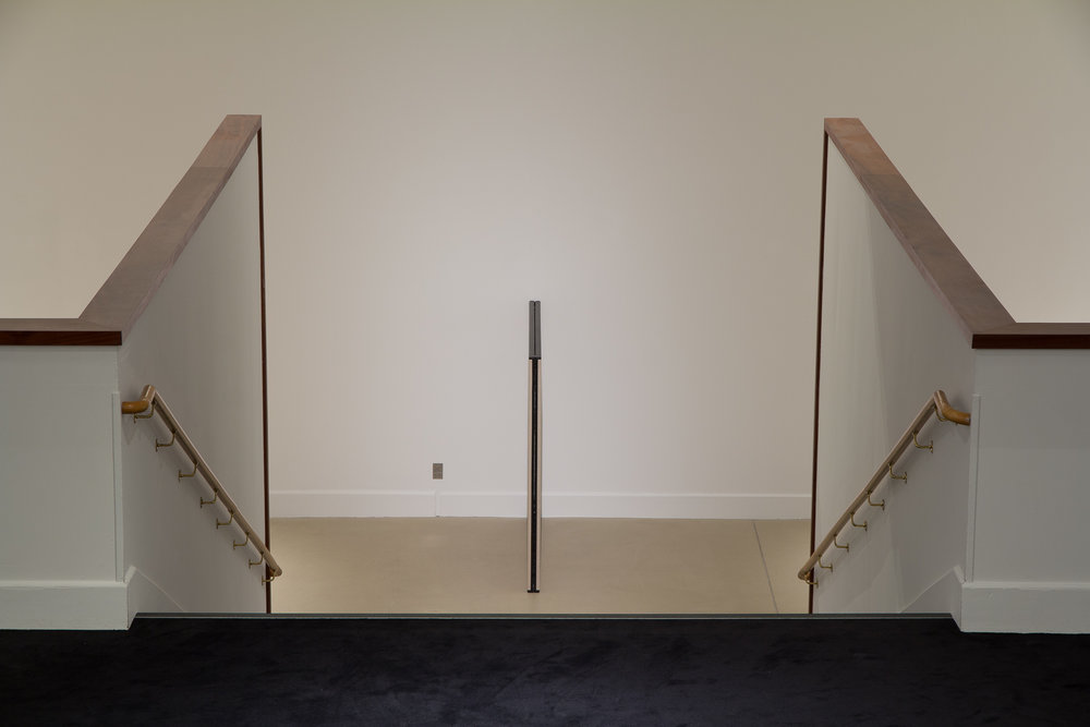 Matt Henry  Untitled Dyad (C)  2016, acrylic on raw linen, cedar stretchers, 1600 x 1800 x 80 mm.  Long Division  exhibition installation view, Govett-Brewster Art Gallery. Photo Bryan James
