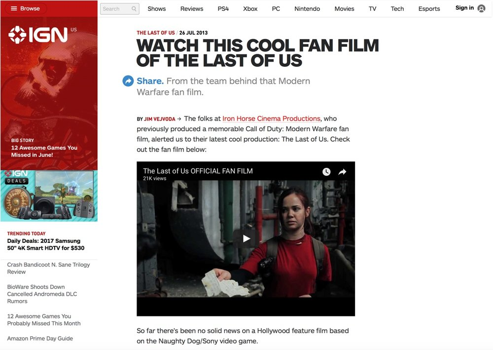 IGN.com - Featured article on IGN.com about our The Last of Us fan film.