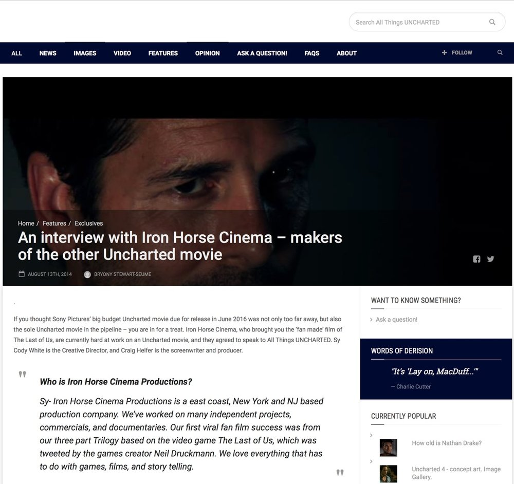 AllThingsUncharted.com - Interview with AllThingsUncharted.com on our Uncharted fan film.