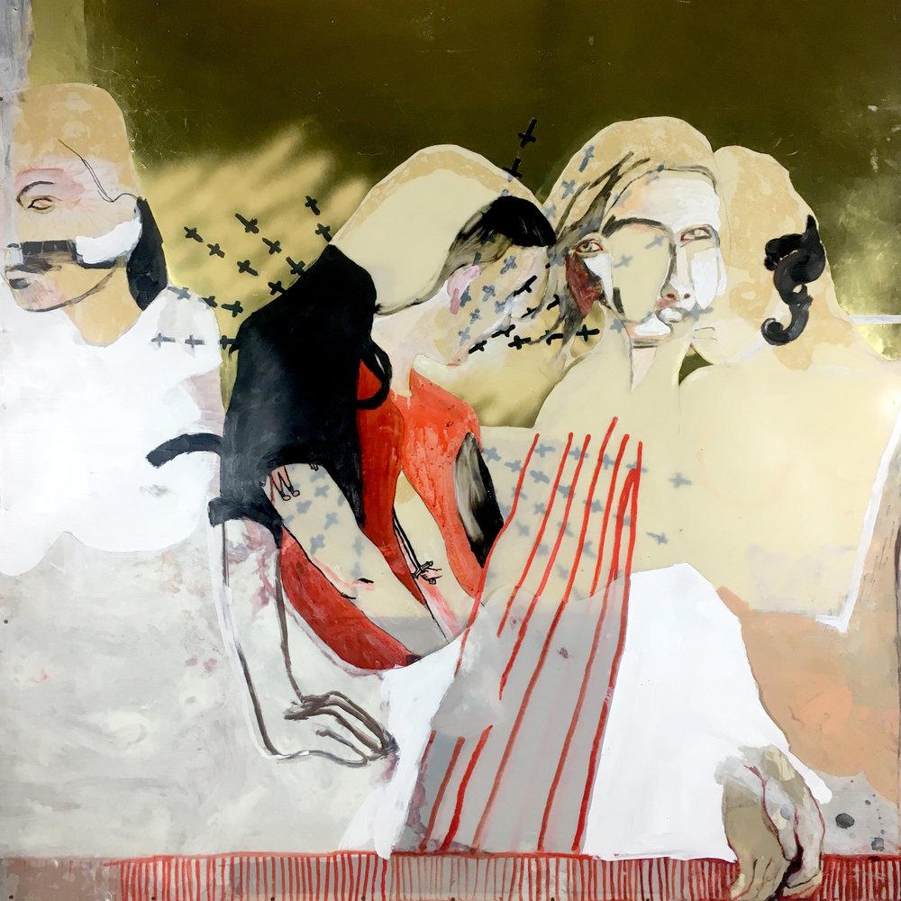 Nate Masse,  On Polyamory  (detail), mixed media, 57.5 x 55″, 2013 - 2018.