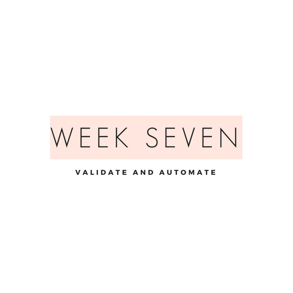 validate and automate Week seven is all about creating and converting your list. The goal here is to create validation of your brand by being consistence and building trust in your tribe. We will also help you learn systems so that you can be making that money while you are sippin' mojitos at the pool.