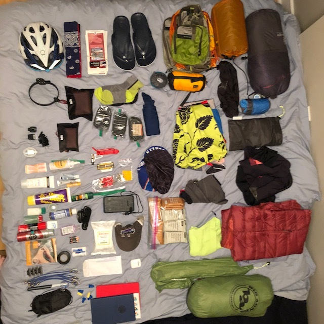 Everything I carried across America - laid out and ready to be packed.
