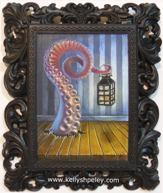 """Cthulhu Visits"" 6"" x 8"" oil on panel. Inquire for purchase."