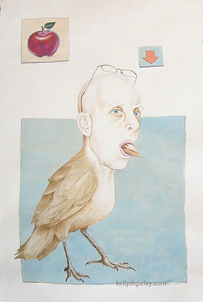 """Nedbird"" 1ft x 1.5ft. Acrylic on paper. SOLD. Private collector, Oslo, Norway."
