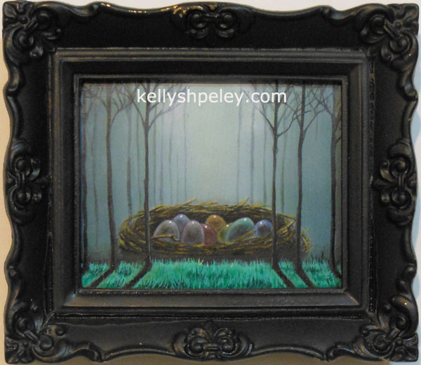 """Beaster Nest"" 4"" x 6"" oil on panel. SOLD. Private collector, Nelson, BC, Canada."