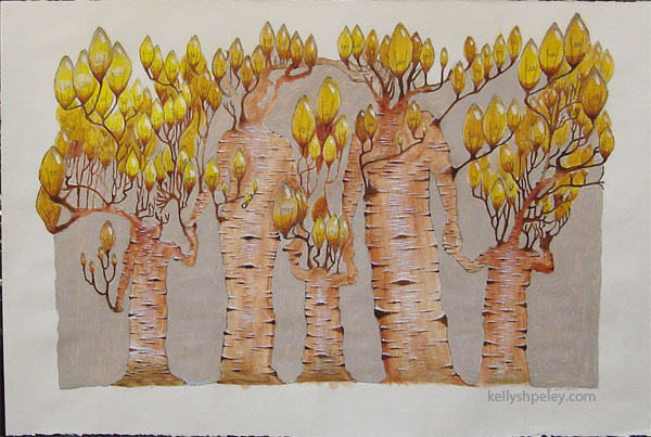 """Light family"" Acrylic on paper. SOLD. Private collector, Calgary, Alberta, Canada."