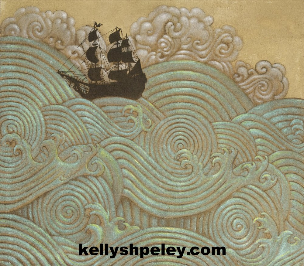 """Tall Tales of Ships and Sails"" 32"" x 38"" Acrylic on canvas. SOLD. Private collector. Inquire about prints."