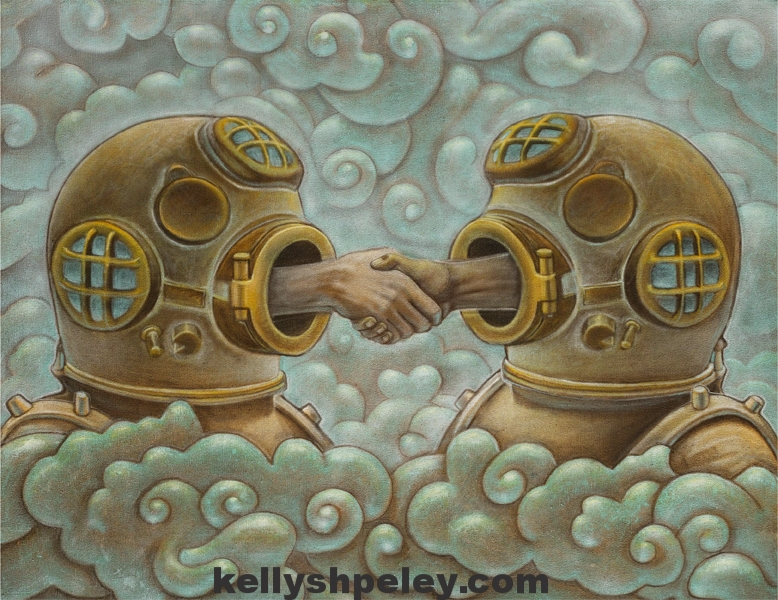 """Reach (introverted greeting)"" 32"" x 38"" Acrylic on canvas. SOLD. Private collector.   Prints available on demand. Contact to inquire"