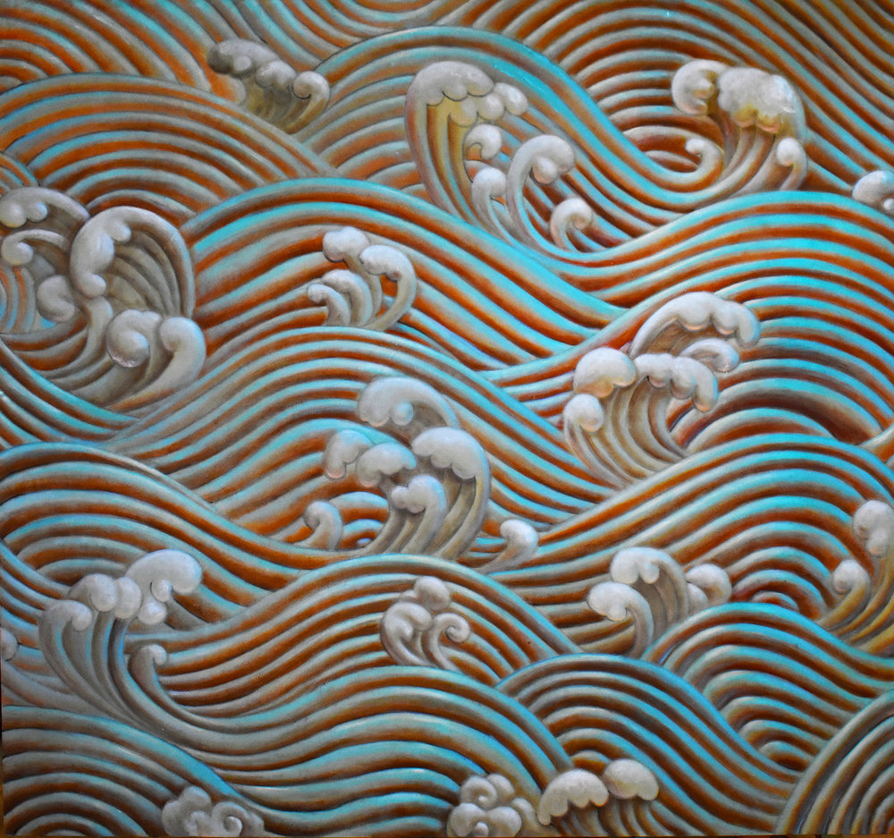 """Rolling Serenity"" Acrylic on canvas 5ft x 5ft by: Kelly Shpeley"