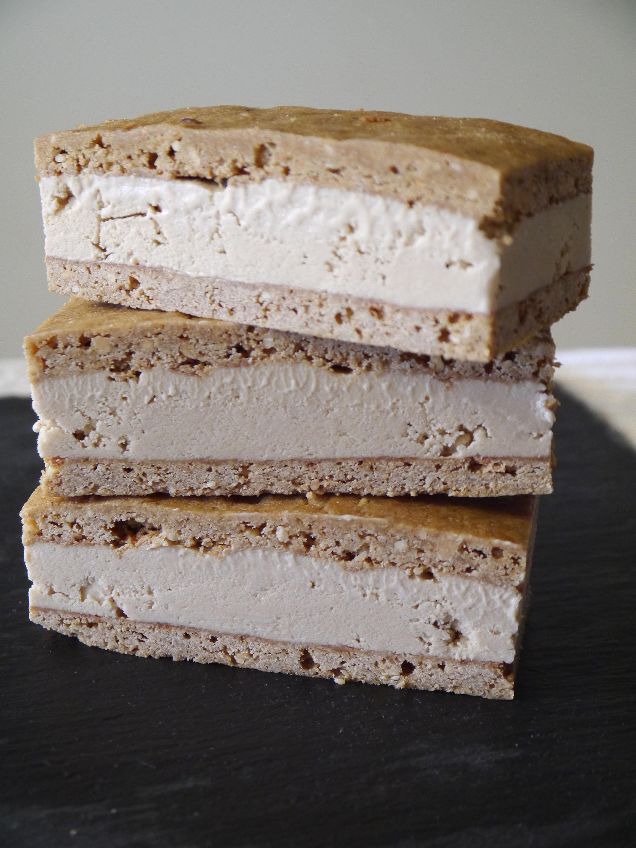 Peanut Butter & Roast Banana Ice Cream Sandwiches