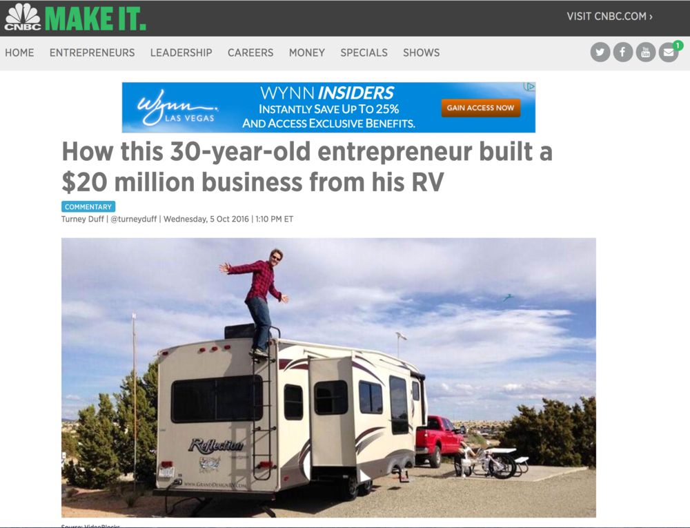 Credit to the awesome VideoBlocks team:  How this 30-year-old entrepreneur built a $20 million business from his RV