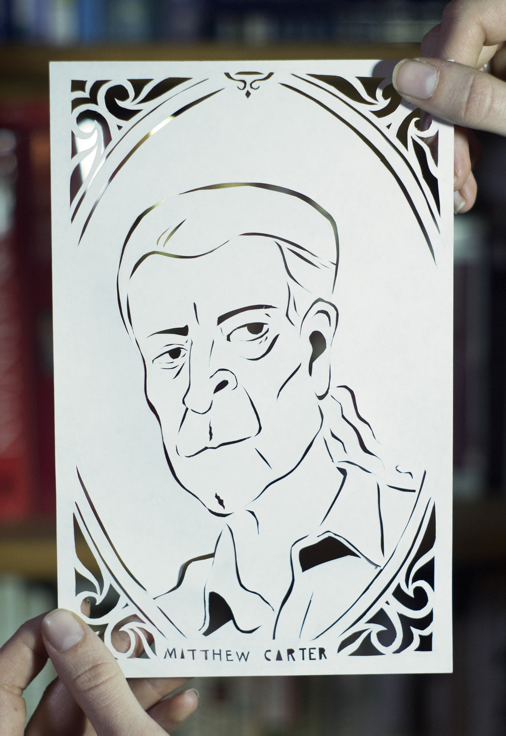 """Part of a series of paper cut portraits of famous typographers, called """"Letter Men""""."""