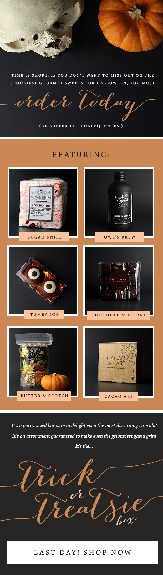 Spooky email design and photography for Treatsie's Halloween sweets box.