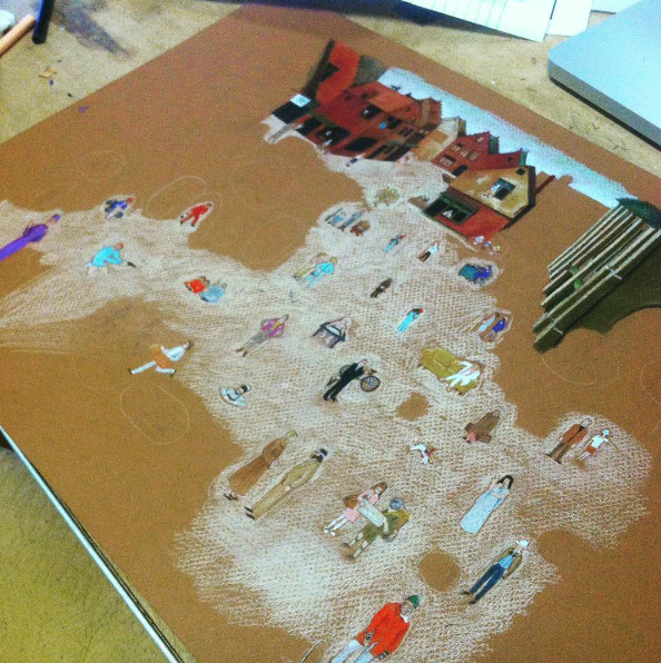 "process shot from the creation of my magnum opus, ""Every Wes Anderson Character in Bruegel's The Fight Between Carnival and Lent"""