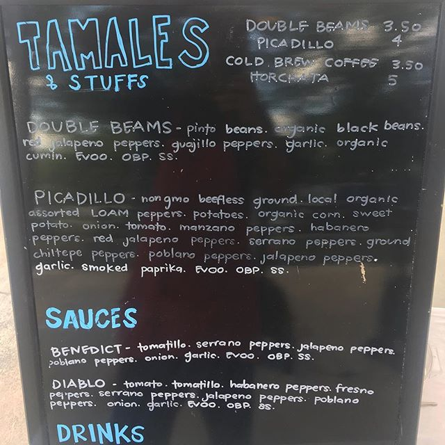 Menu for the day, yo! 😎🤘🏽 @eestreetmarket ⚓️ 10a-2p ⏰ AND @revolucionhtx 🍎🍊🍋 11a-2p ⏰ preorder right meow 🐱 832-693-3948 📲👀 #tamales #sunday #guudbelly #vegan