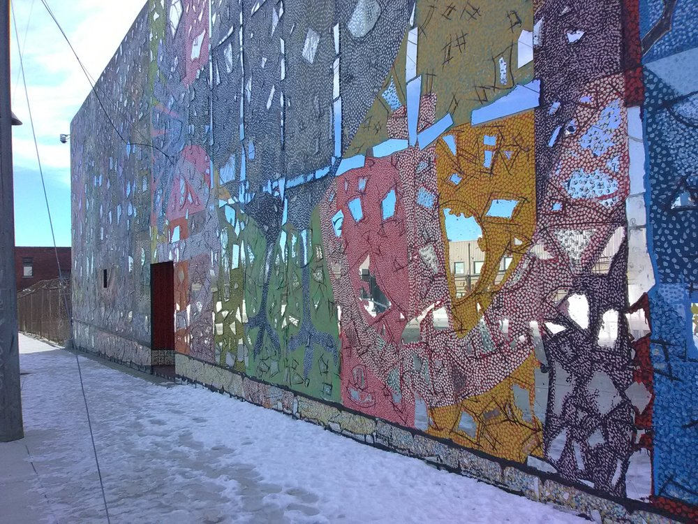 Mirror Mosaic Building near Detroit's Eastern Market at the Dequindre Cut