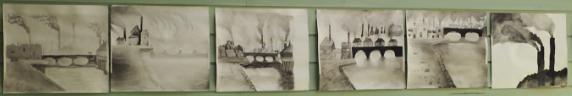 Sort/hvitt- malerier med motiv fra den industrielle revolusjon i 9. klasse.