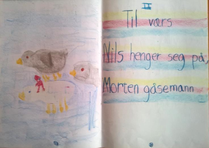 3. klasse har hørt om Nils Holgerssons forunderlige reise på ryggen til en gås gjennom Sverige.