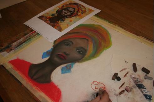 Male gruppen tegner mennesker og landskap fra Sudan