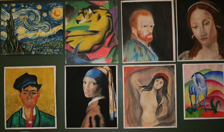 Arbeider fra maleundervisningen.