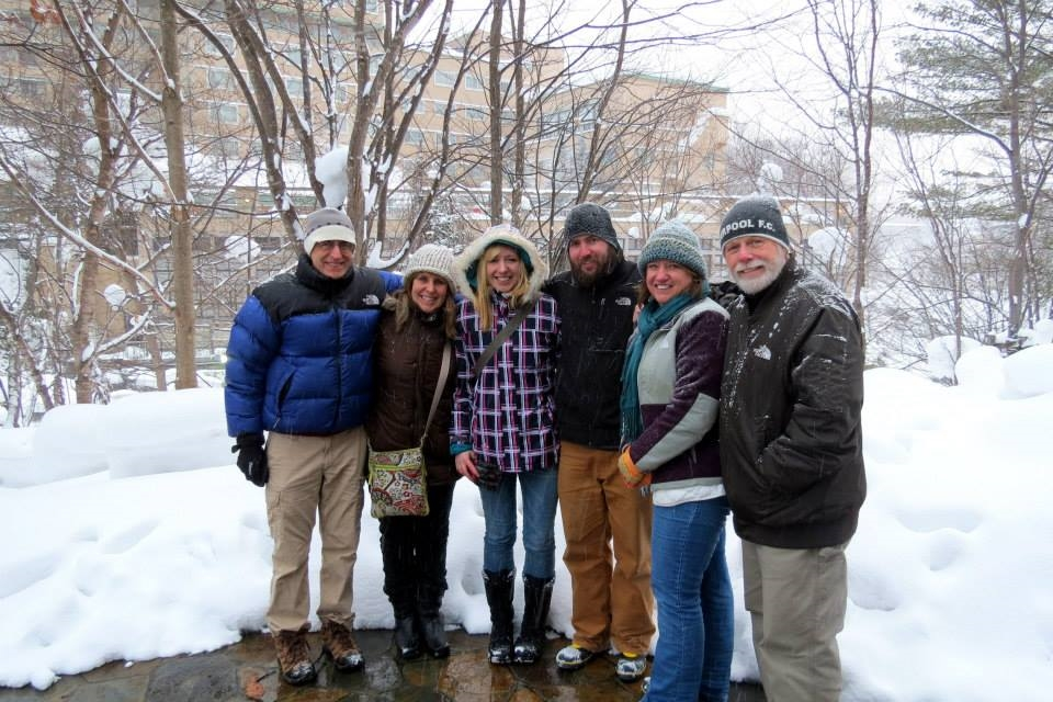 Our parents during their visit to our home in Sapporo, Japan in 2014.   Left to right: Bruce, Tammy (Sarah's), Sarah, Gabriel, Barbara, Charlie (Gabriel's)