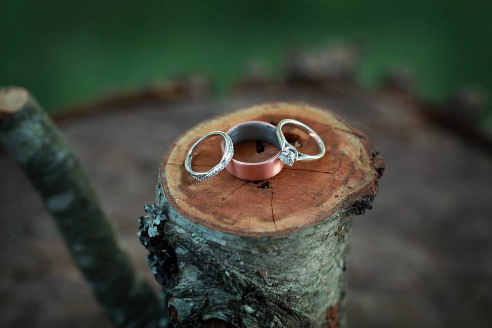Our wedding rings – including Gabriel's copper band that he crafted himself.   Photography courtesy PattyLynn Photography, LLC