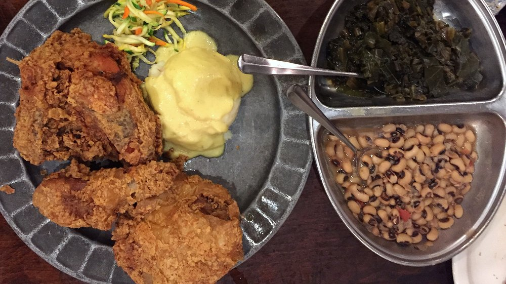 Fried chicken, mashed potatoes, greens and black-eyed peas at Pitty Pat's Porch in Atlanta.