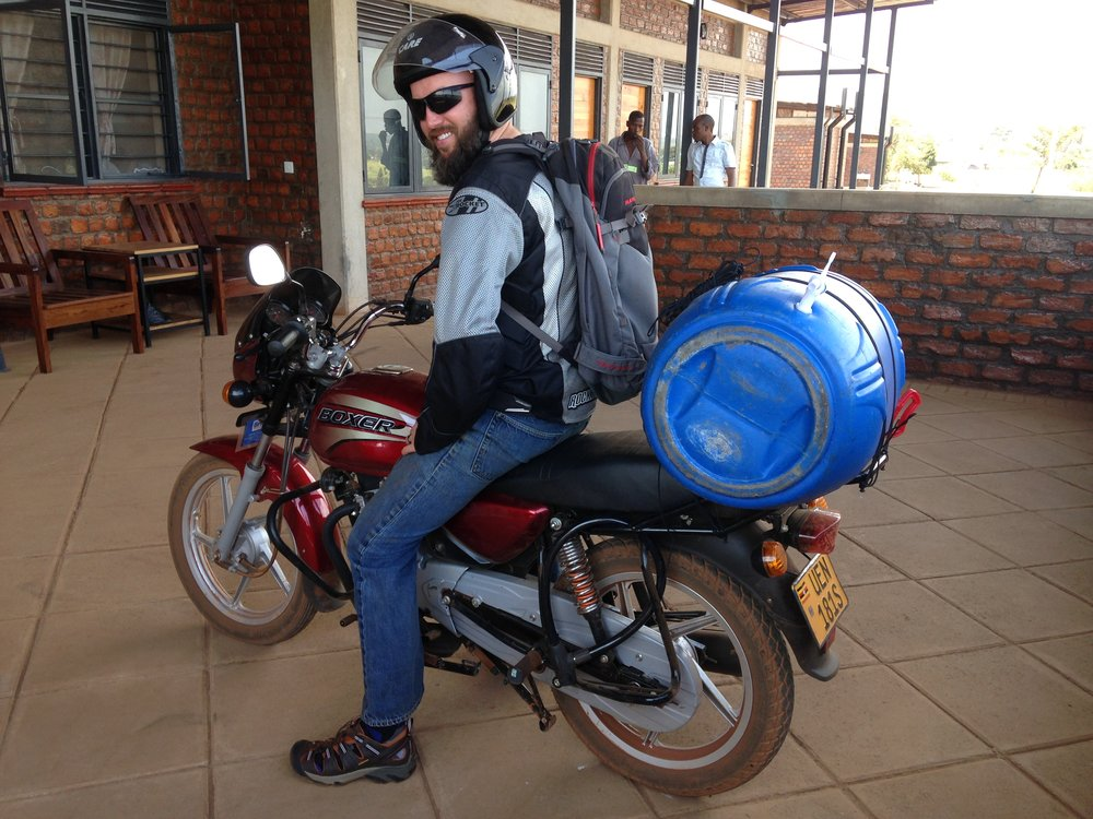 Gabriel has become a true boda driver, now that he has transported something ridiculous on his motorcycle.