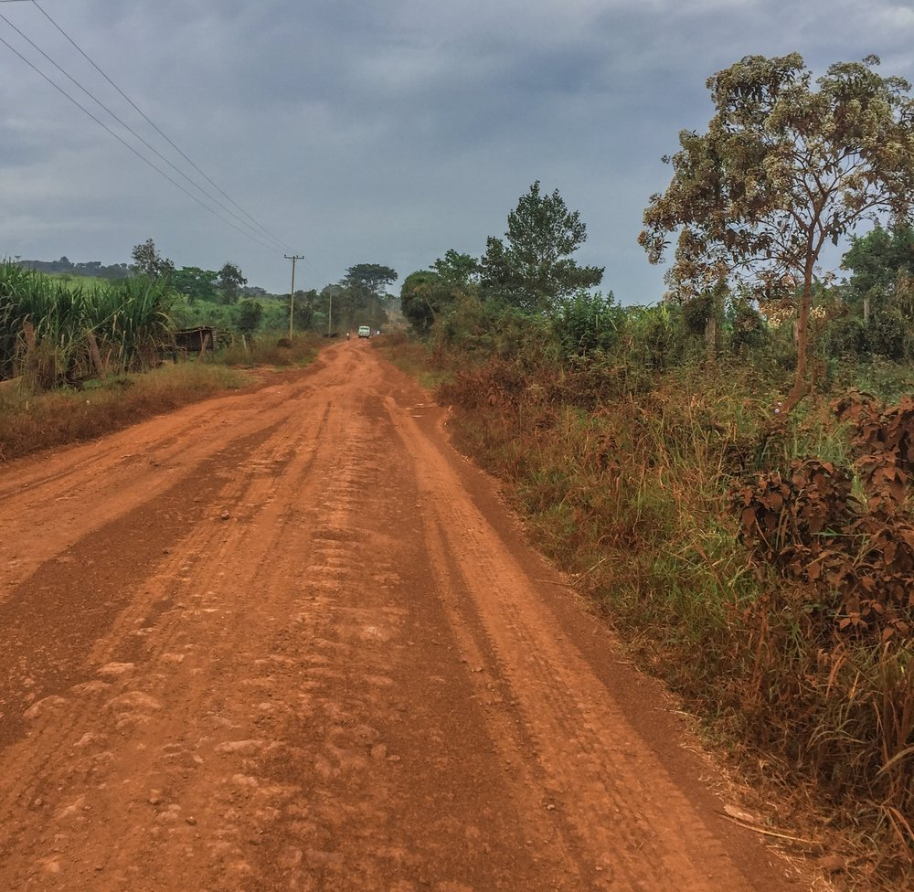 The main dirt road that leads from The Amazima School to Buziika.