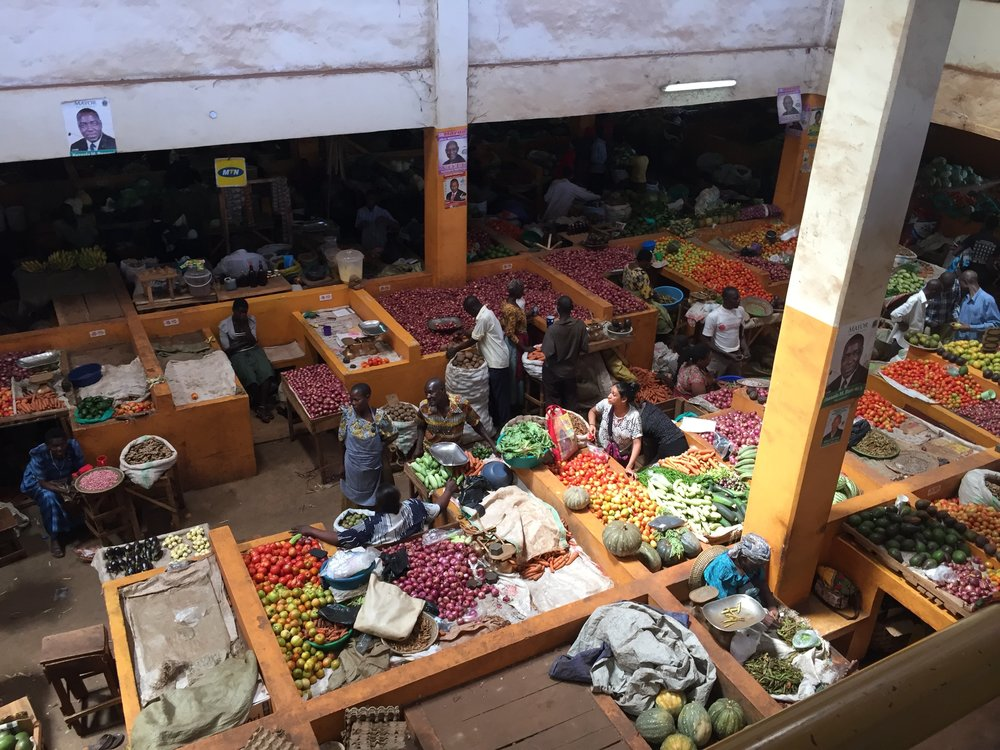 A small glimpse at Jinja-town's Central Market. The market spans more than two city blocks and is located in a structure similar to a parking garage, with multiple levels and ramps between levels. More than 3,000 registered vendors sell goods at the market.  Photo courtesy Casey Family