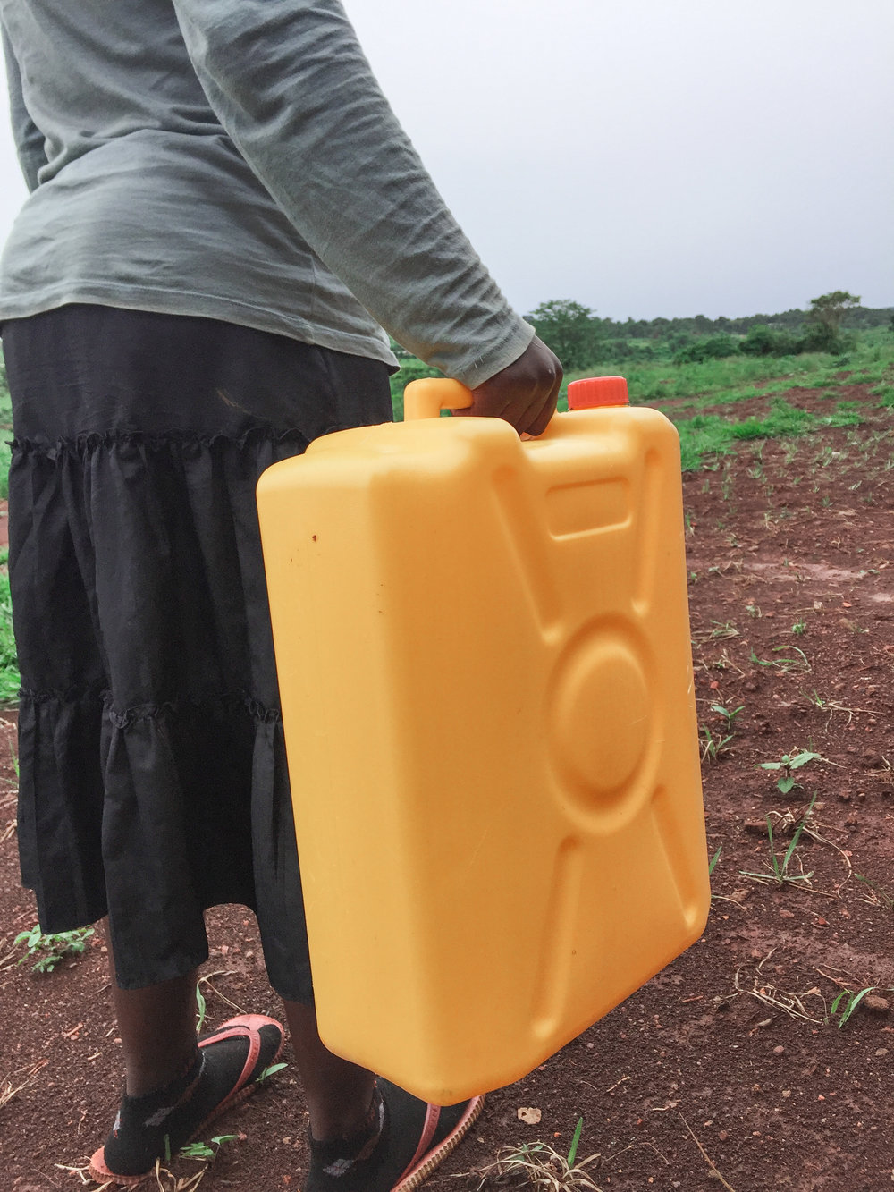 A jerry can used for fetching water in the village. When filled, they are very heavy and difficult to carry for long distances.