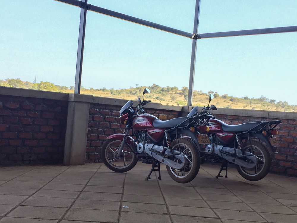Paneer and Tandoori, our Bajaj Boxers in Uganda, named after their Indian roots. At only 150 CC's, they were more like glorified scooters that only  looked  like motorcycles.
