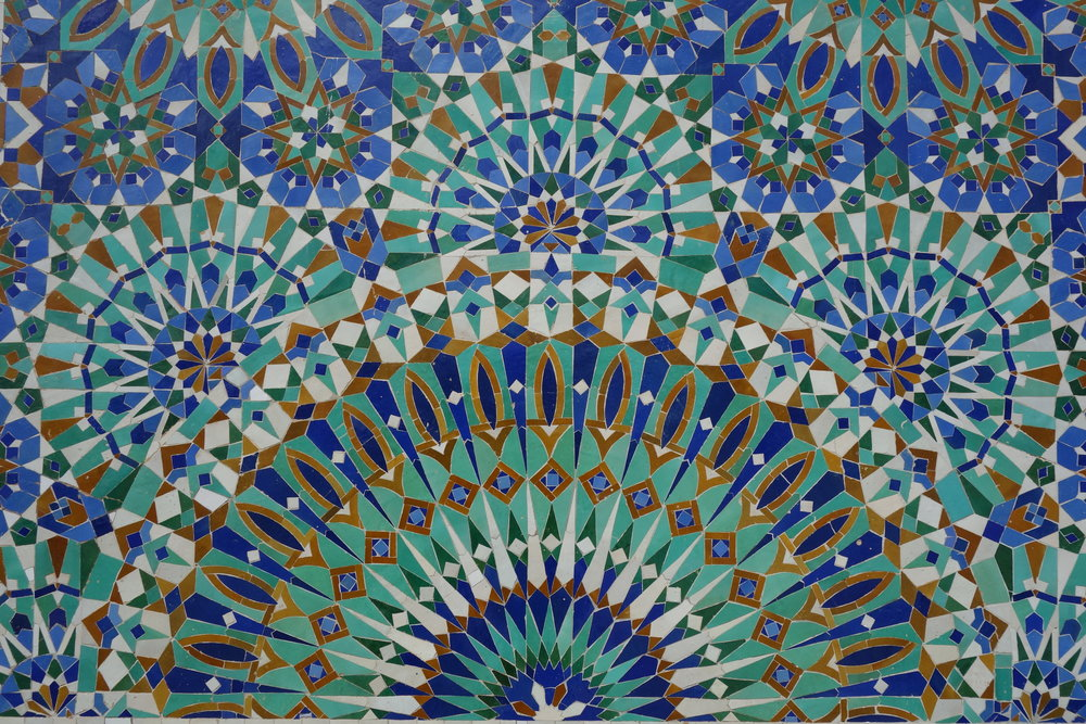 Green and blue Moroccan tile pattern.