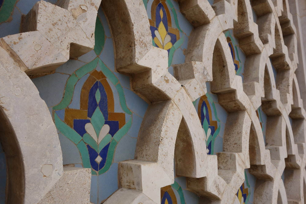 Blue and green tiles in Casablanca.