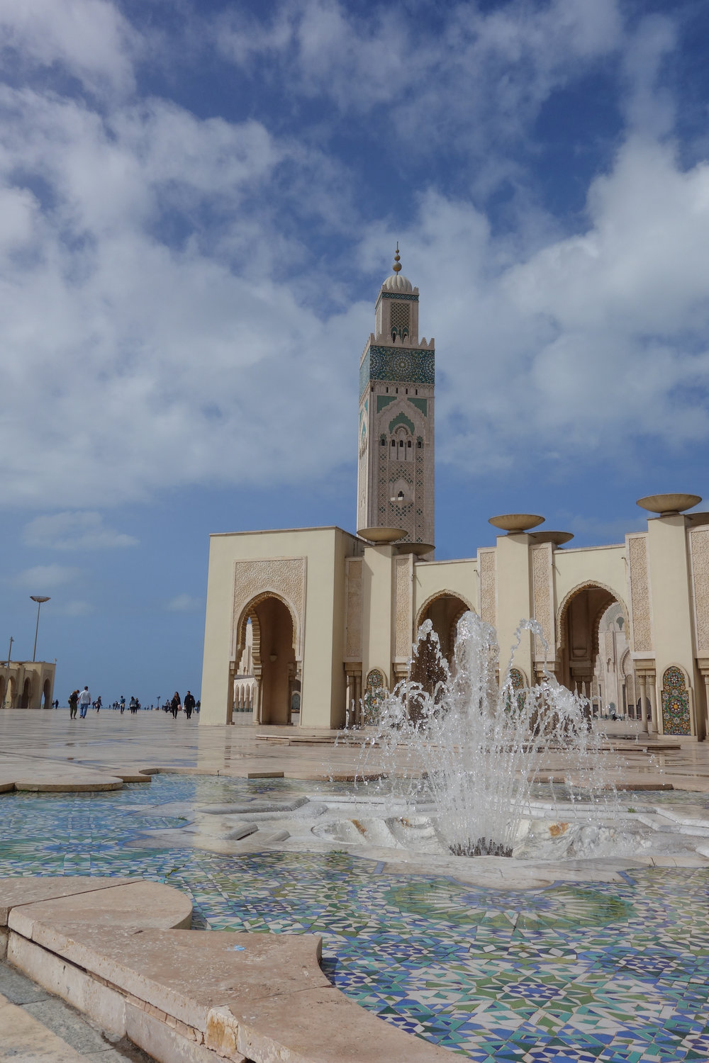 One of Hassan II Mosque's beautiful tile fountains, in Casablanca.