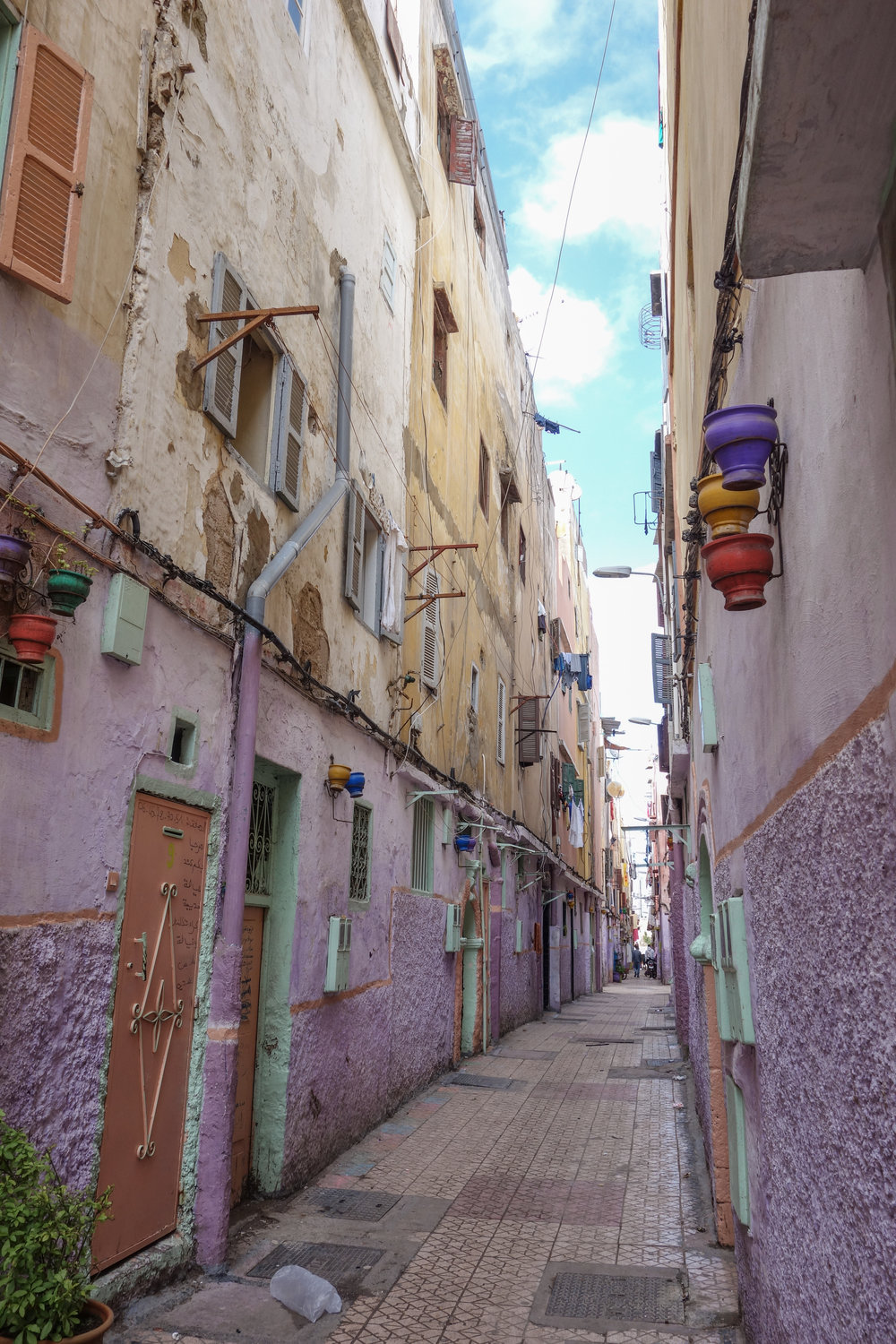 A maze of alleys cuts off from the local market and medina in Casablanca.