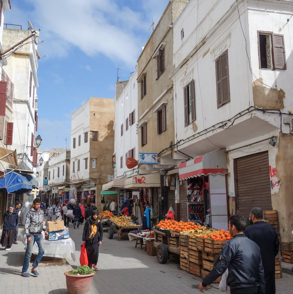 Local markets blend into Casablanca's medina, selling Moroccan fruits and vegetables.