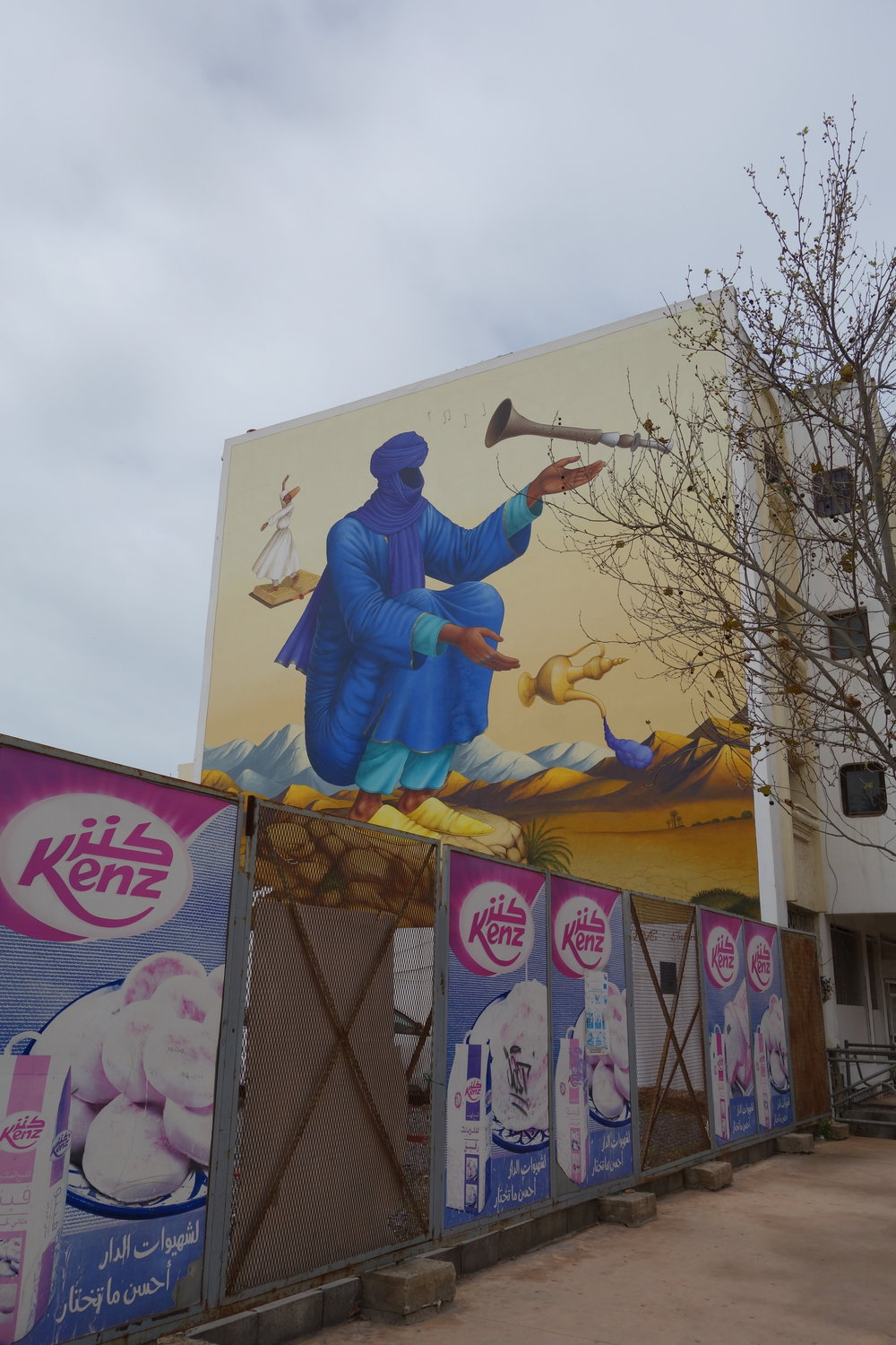 A Moroccan genie, depicted in a mural in Rabat, Morocco.