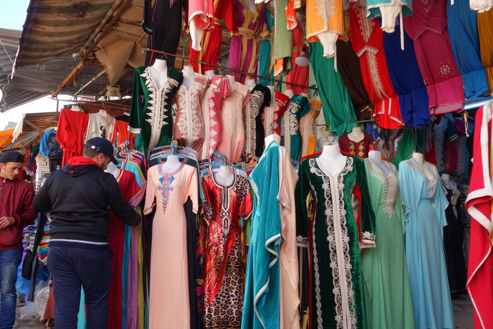 Traditional Moroccan dresses for sell at Rabat's medina.