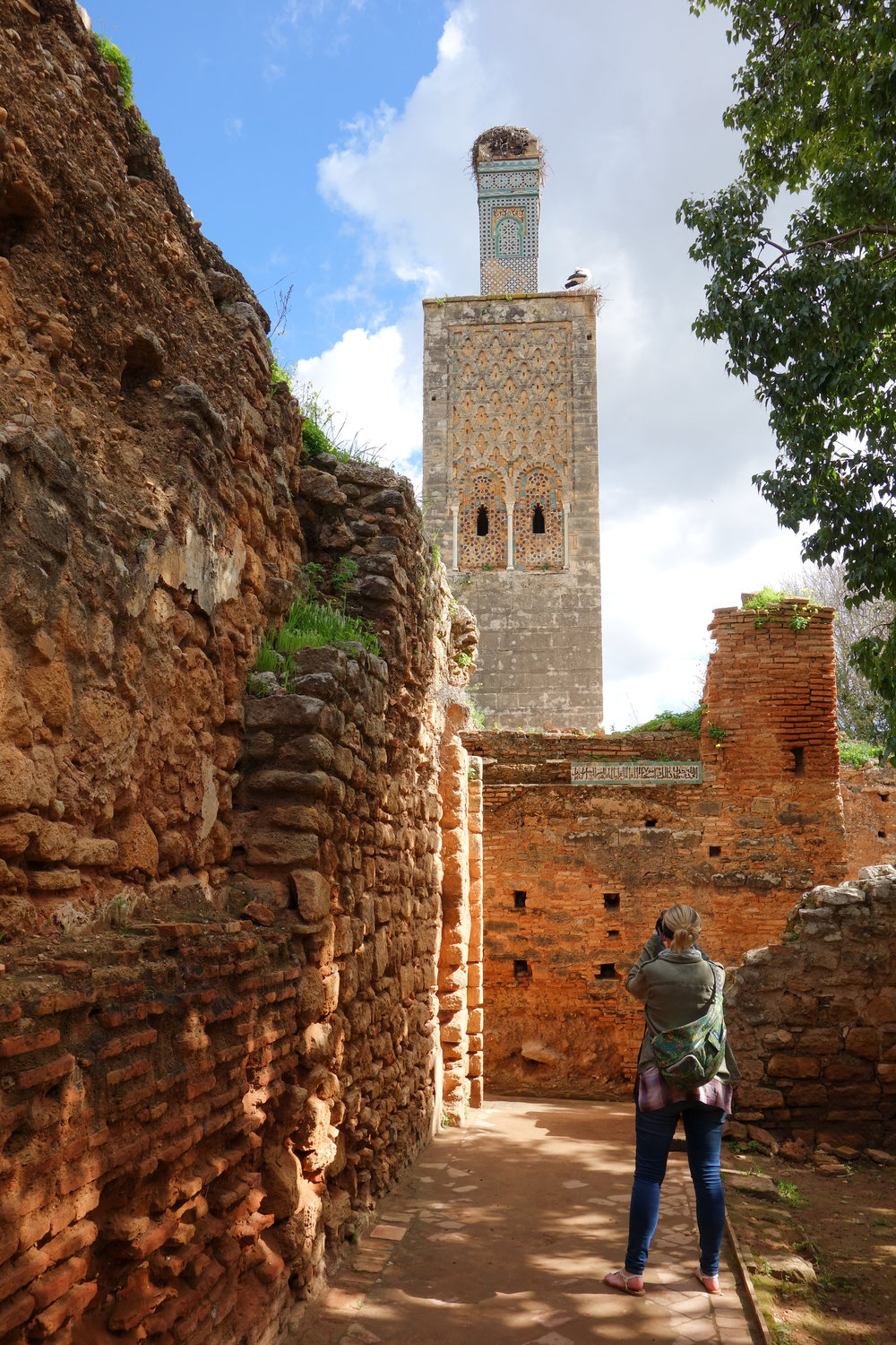 Discover the ancient mosque and minaret at Chellah, Rabat, Morocco.
