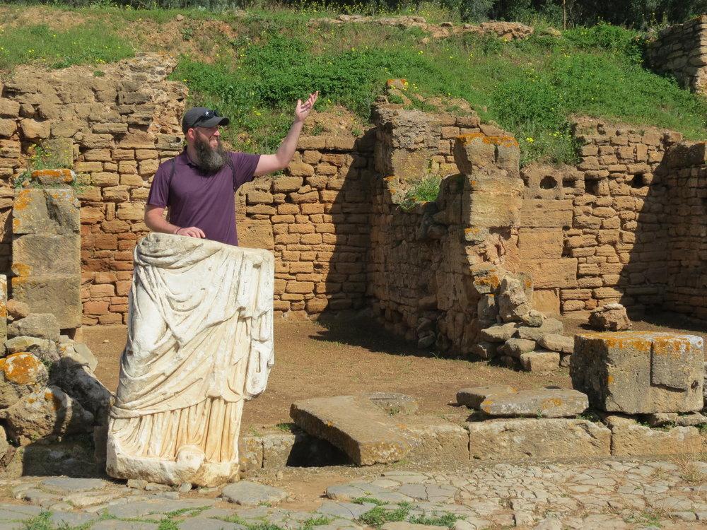 The Roman ruins at Chellah include a forum, decumanus maximus, and arc de triumph.