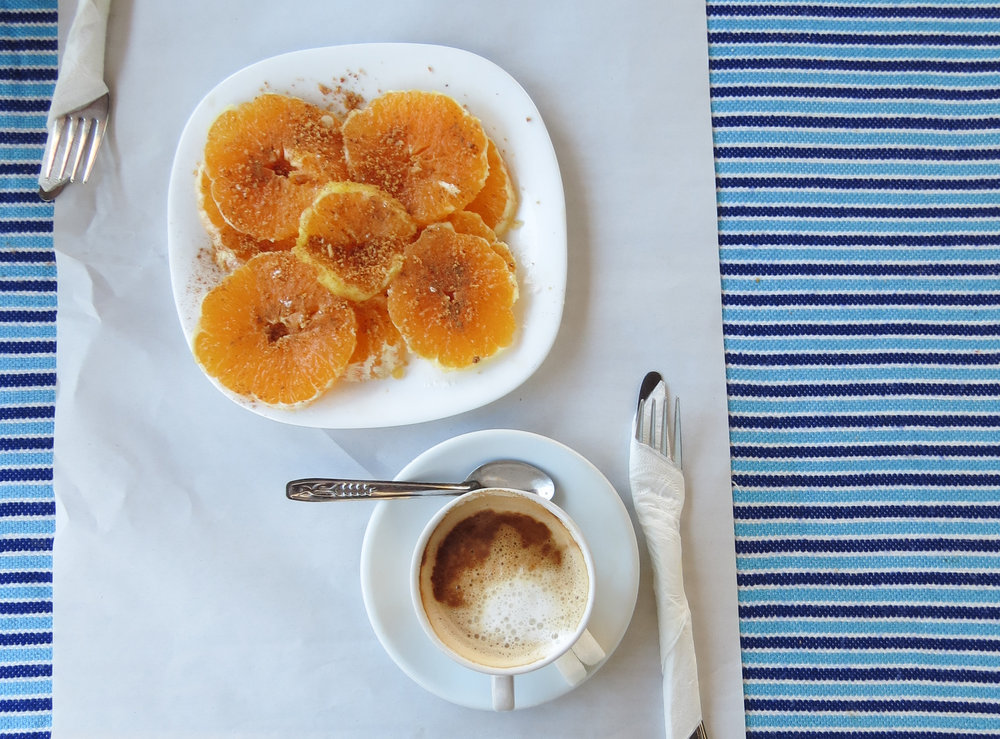 Spicy cinnamon oranges and coffee were served for dessert at Morisco's Restaurant in Chefchaouen, Morocco.