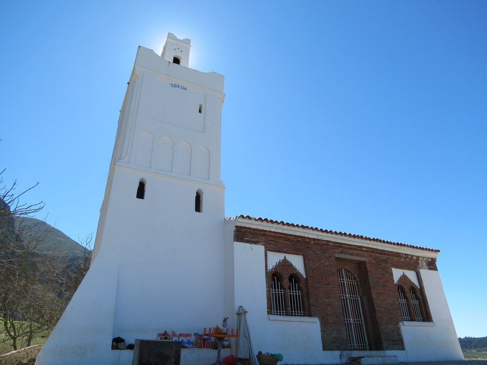 This hillside mosque overlooks Chefchaouen, Morocco.