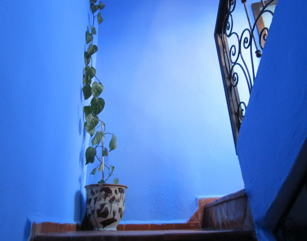 Guest houses in Chefchaouen reflect blue exteriors in their interior design.