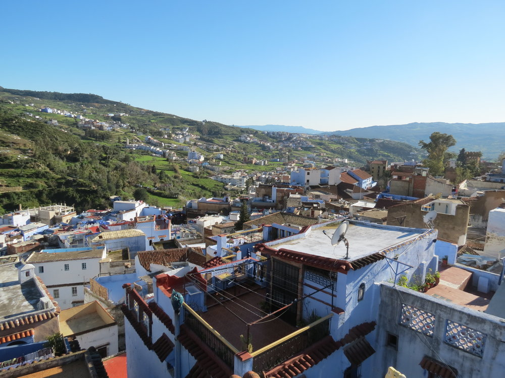 Chefchaouen's terraced homes offer sweeping views of the nearby Rif Mountains.