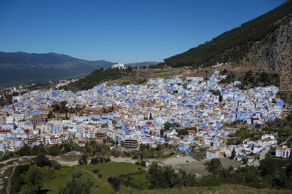 """The """"blue city"""" or """"blue pearl of Morocco,"""" Chefchaouen is a beautiful, must-see destination in the Rif Mountains."""