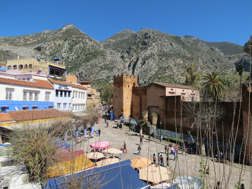 Overlooking Outa al Hammam, the old kasbah in Chefchaouen, Morocco.