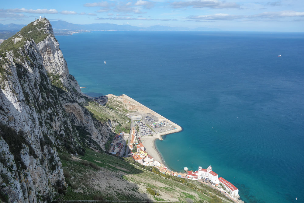Visit the Rock of Gibraltar for views of the Spanish coastline, Mediterranean, and North Africa.