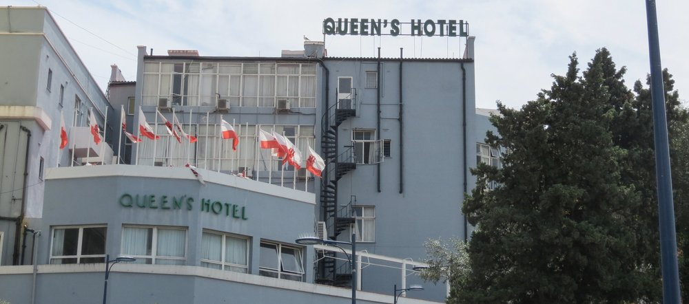 The Queen's Hotel in Gibraltar is a nationalistic venue, supporting Gibraltar's desire to remain a British Territory.