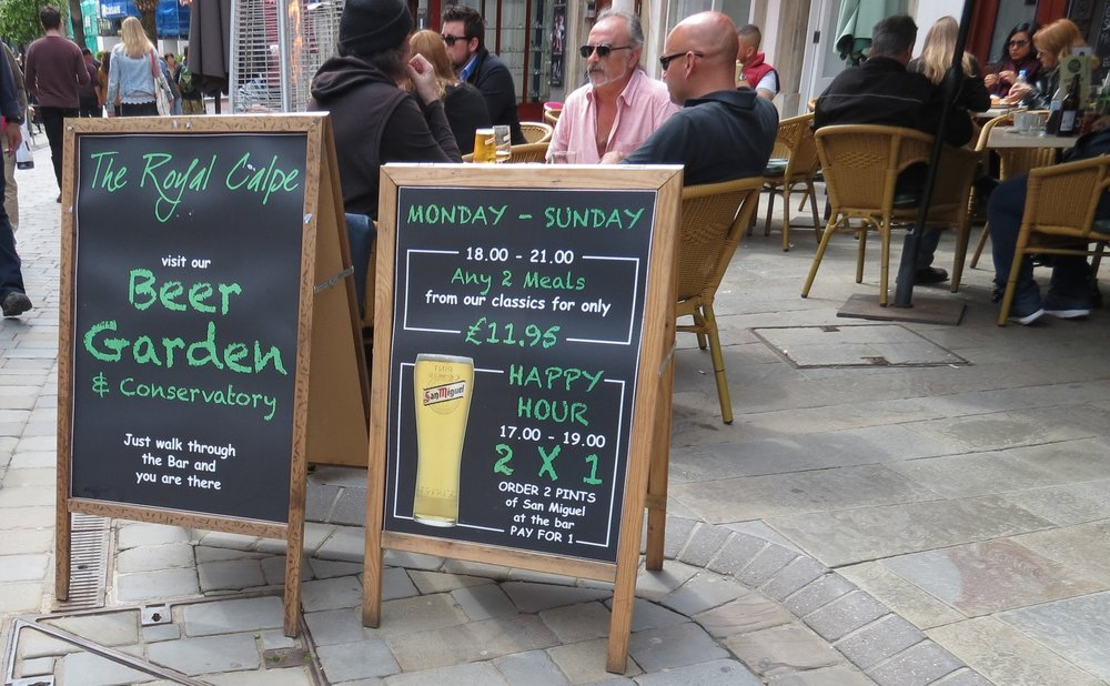Many pubs in Gibraltar feature English-style ales and fish 'n chips.